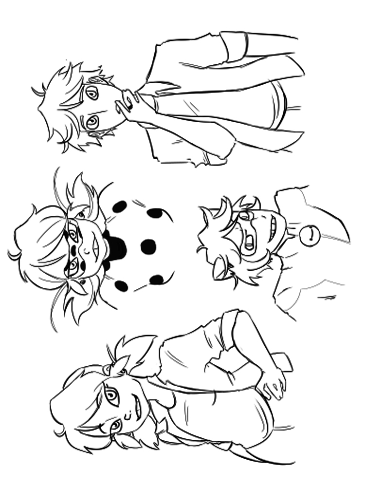 Miraculous Tales Of Ladybug And Cat Noir Coloring Pages Free