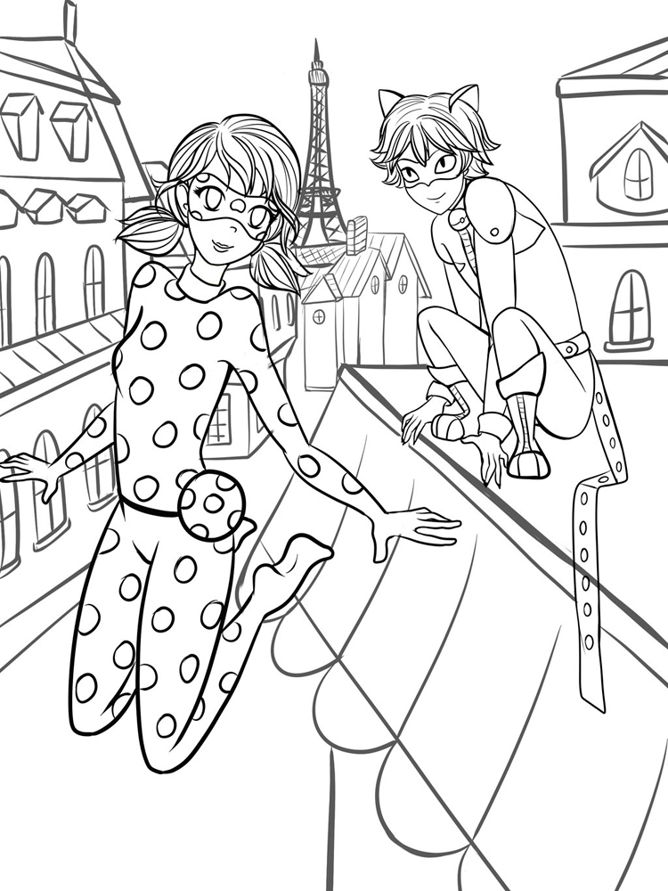 Miraculous tales of ladybug and cat noir coloring pages for Coloring pages of ladybugs