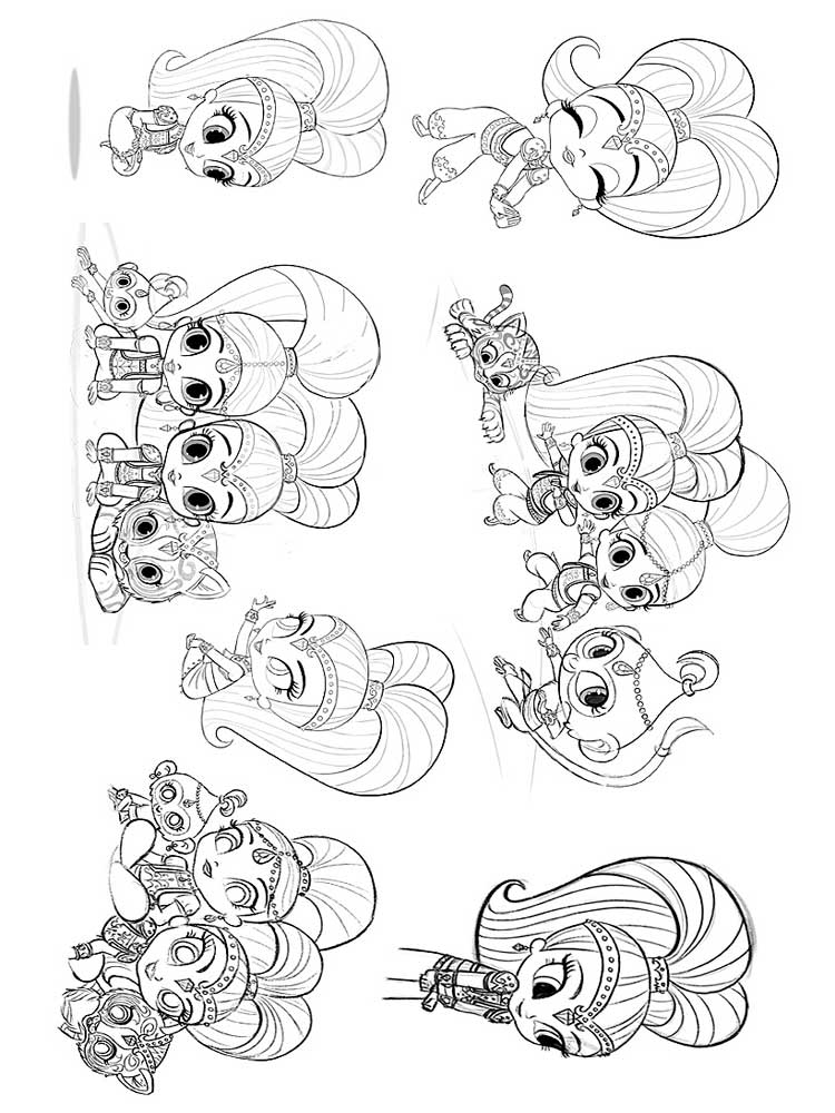 Shimmer and Shine coloring pages. Free Printable Shimmer