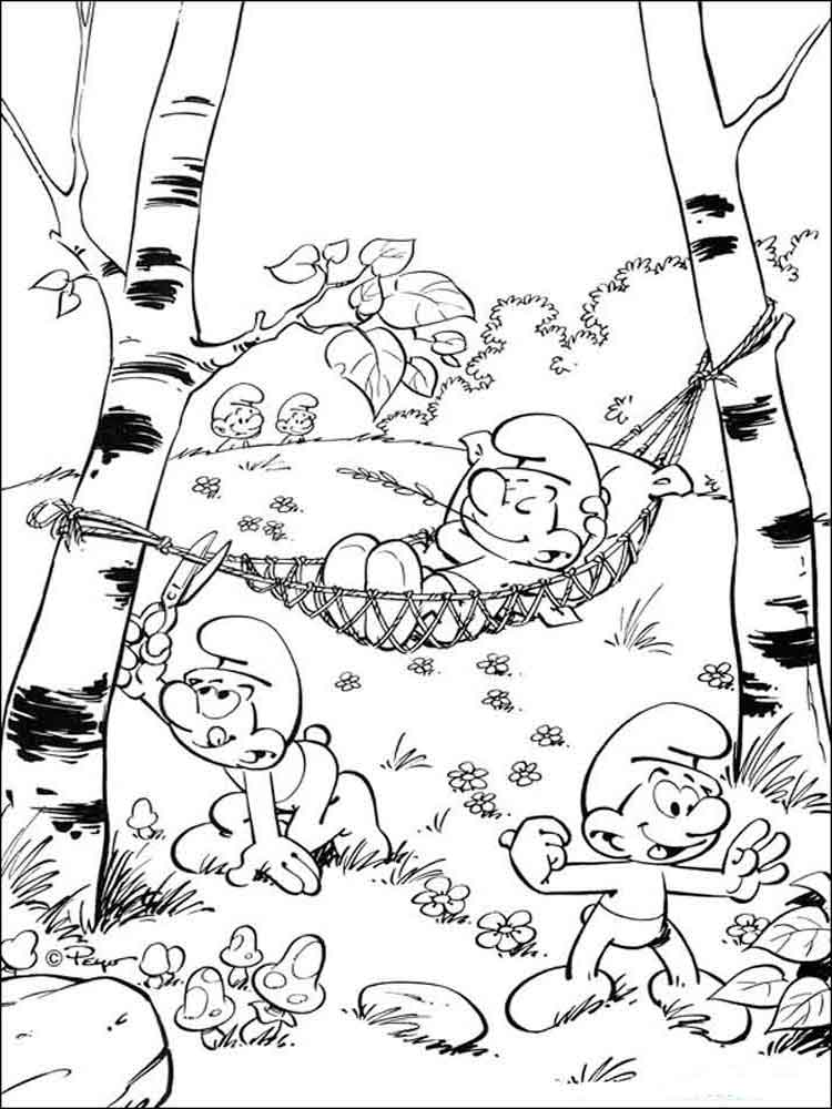 The Smurfs coloring pages Download
