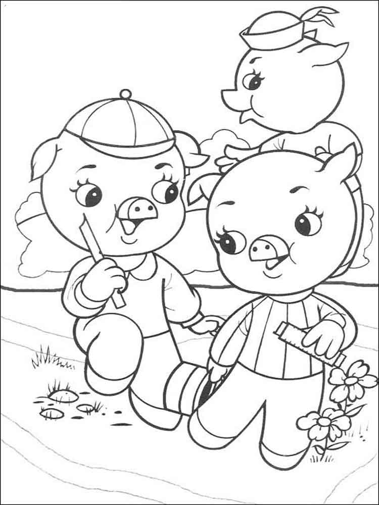 three little pigs coloring pages  free printable three