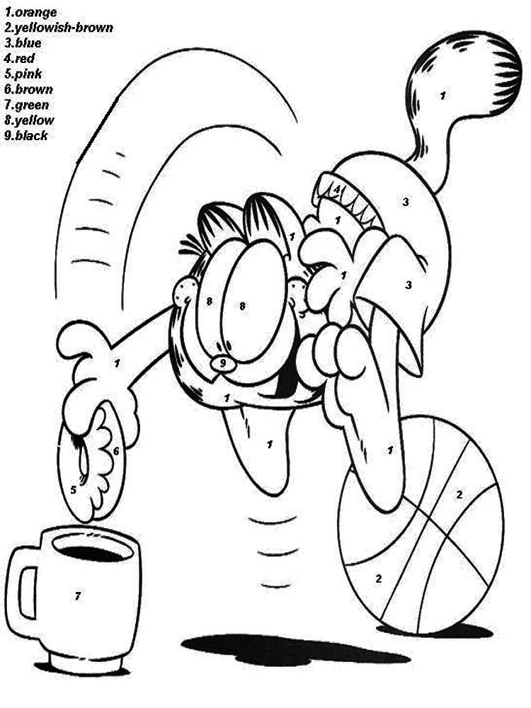 Number 9 Coloring Sheet : Color by numbers coloring pages. download and print