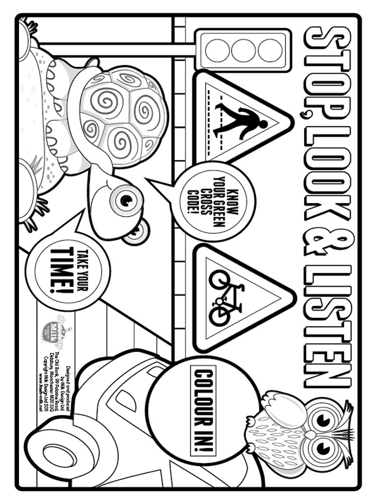 Crossing the road at a crossing colouring just b cause for Home safety coloring pages