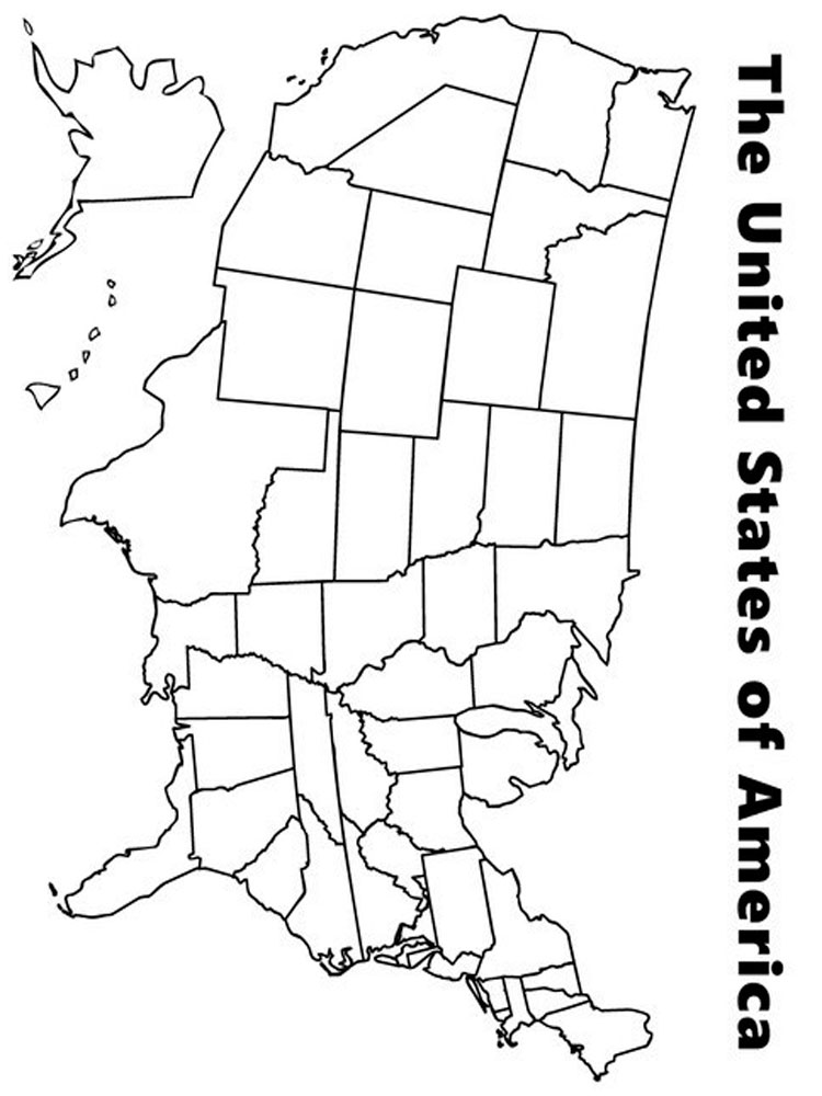 State map coloring pages download and print state map for Maps coloring pages