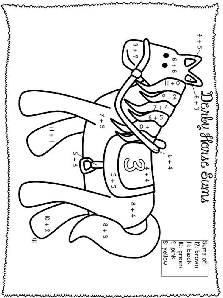 Addition coloring pages free printable addition coloring for Math coloring pages printable