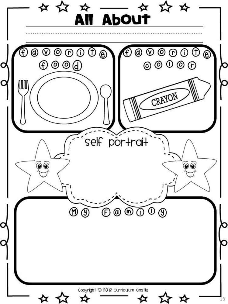 All About Me Coloring Pages Free Printable All About Me