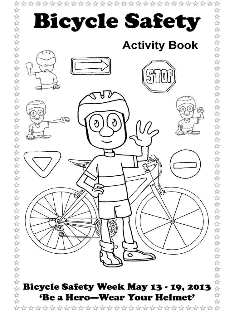 educational bicycle safety coloring pages 1