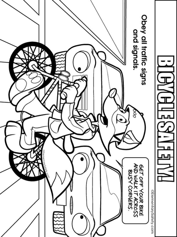 This is an image of Crush Bike Safety Coloring Pages