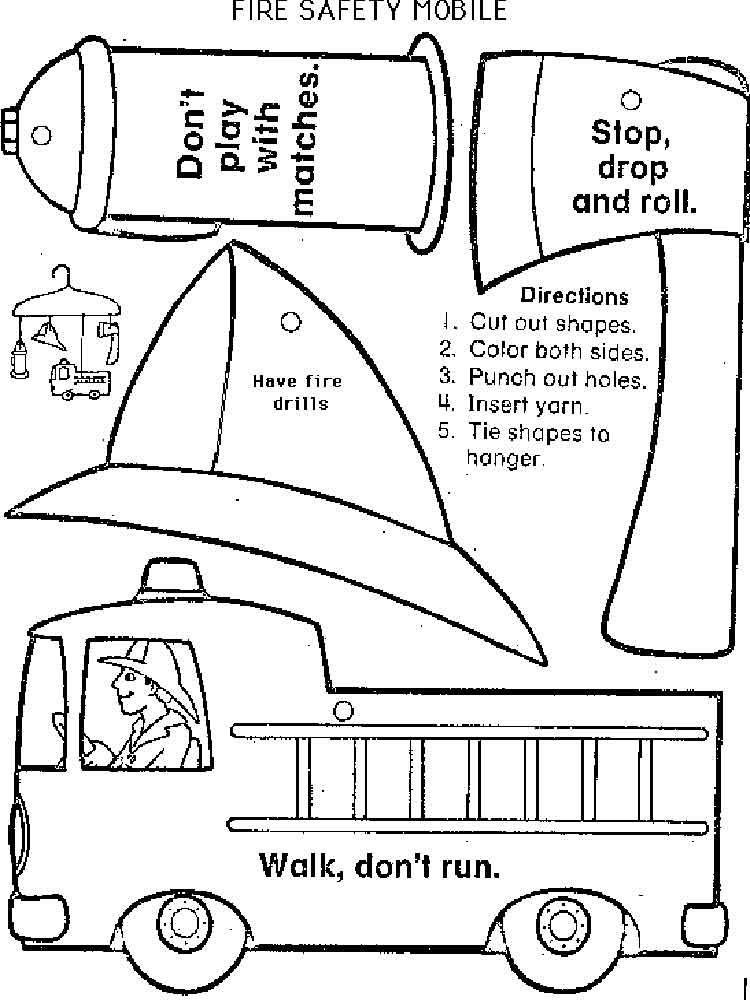 Stop Drop Roll Fire Safety Coloring Sketch Coloring Page