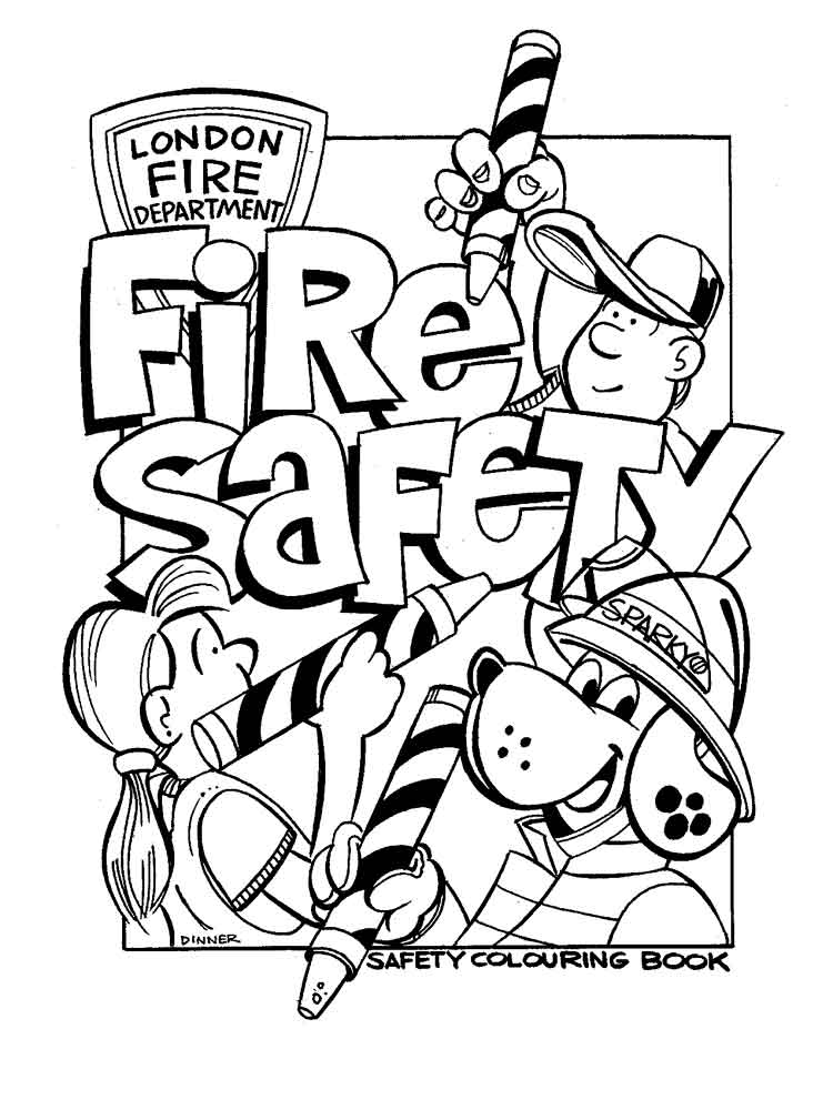 Fire safety coloring pages free printable fire safety for Fire coloring page