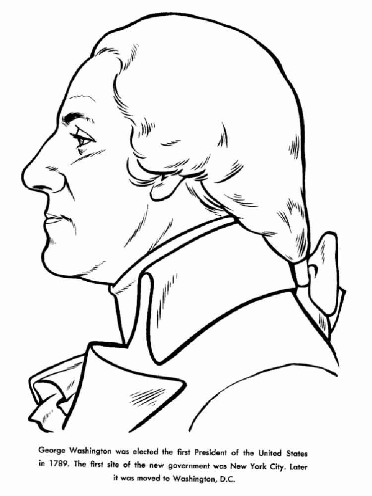 Educational President George Washington Coloring Pages 1