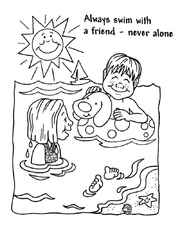 Swimming Safety coloring pages Free Printable Swimming