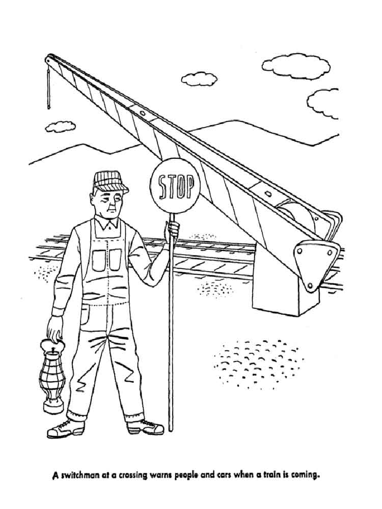 Train Safety coloring pages Free