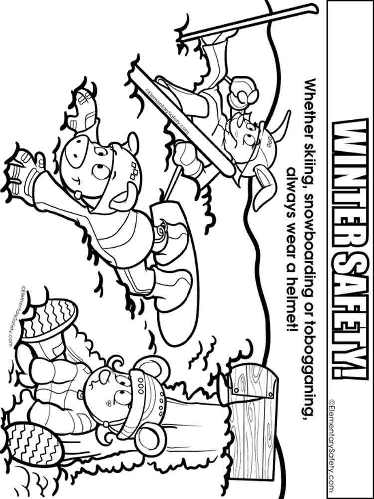 Winter Safety coloring pages Free