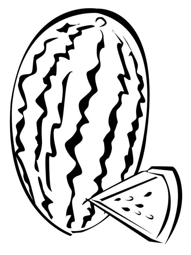 watermelon fruits coloring pages 1 - Slice Watermelon Coloring Page