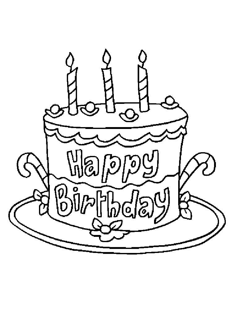 Birthday Cake Coloring Pages. Free Printable Birthday Cake Coloring Pages.