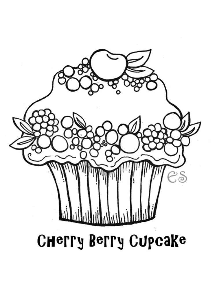 Birthday Cupcake Coloring Pages Free Printable Birthday
