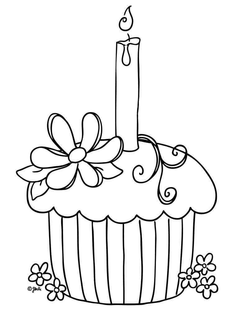 Birthday Cupcake coloring pages Free Printable Birthday Cupcake