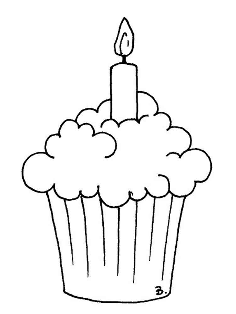 Birthday Cupcake coloring pages