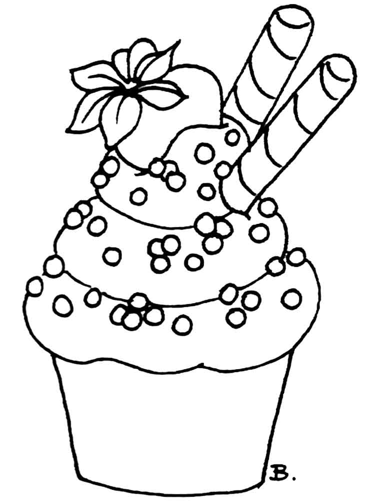 Birthday Cupcake Coloring Pages Free Printable Birthday Cupcake Coloring Pages