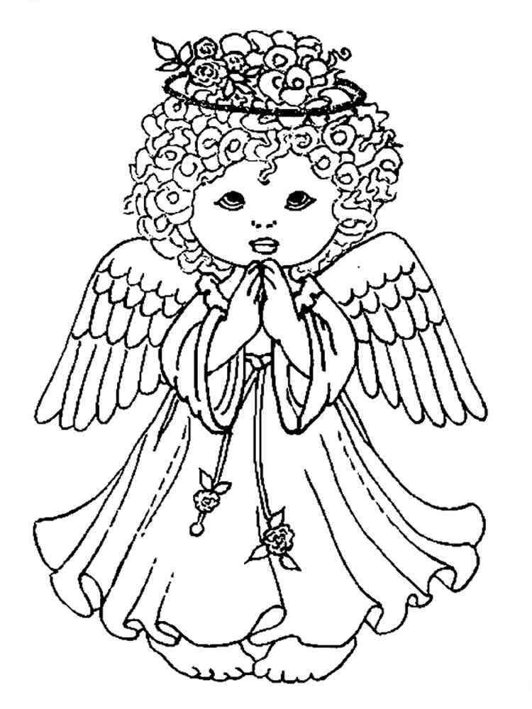 Картинки ангелов для раскрашивания