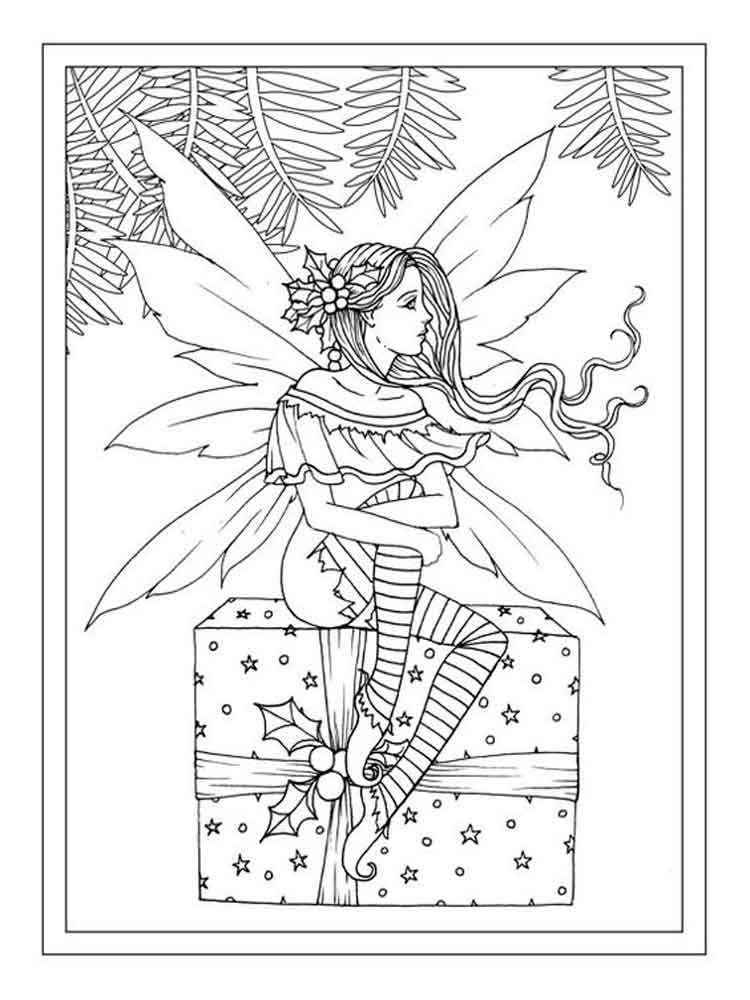 Christmas fairy coloring pages free printable christmas for Christmas fairy coloring pages