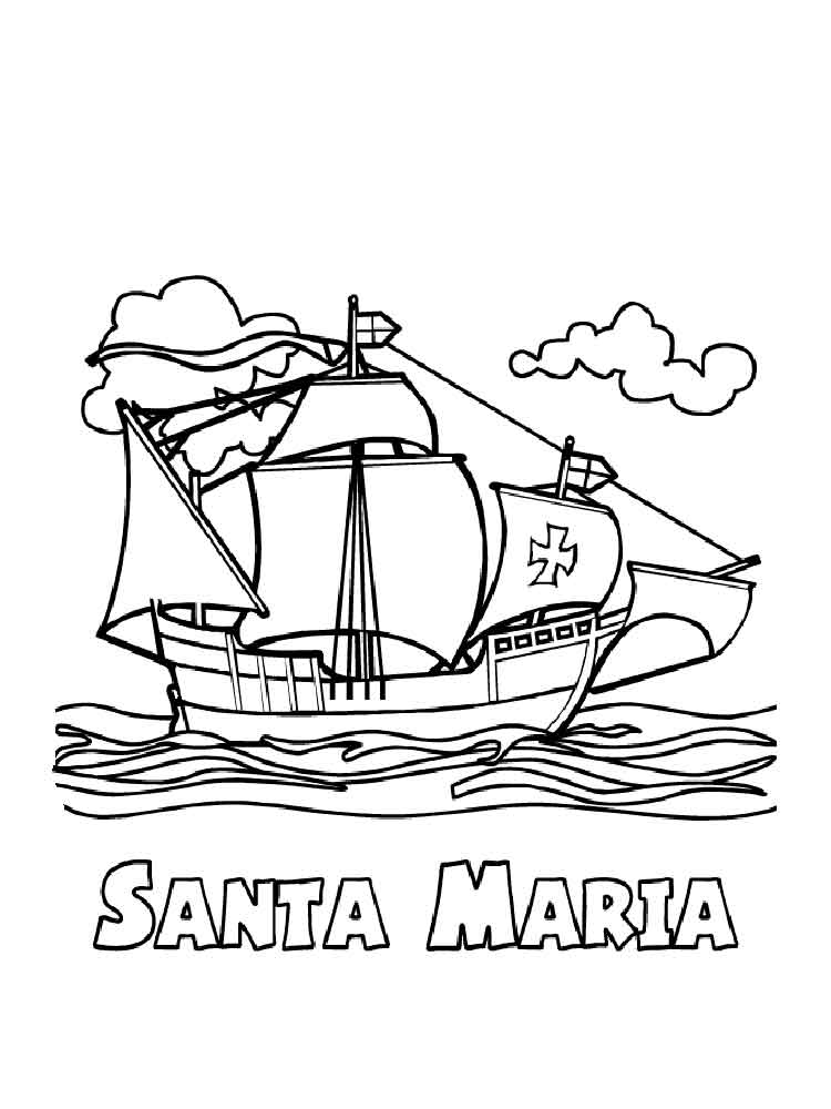 Columbus day coloring pages free printable columbus day for Columbus coloring page