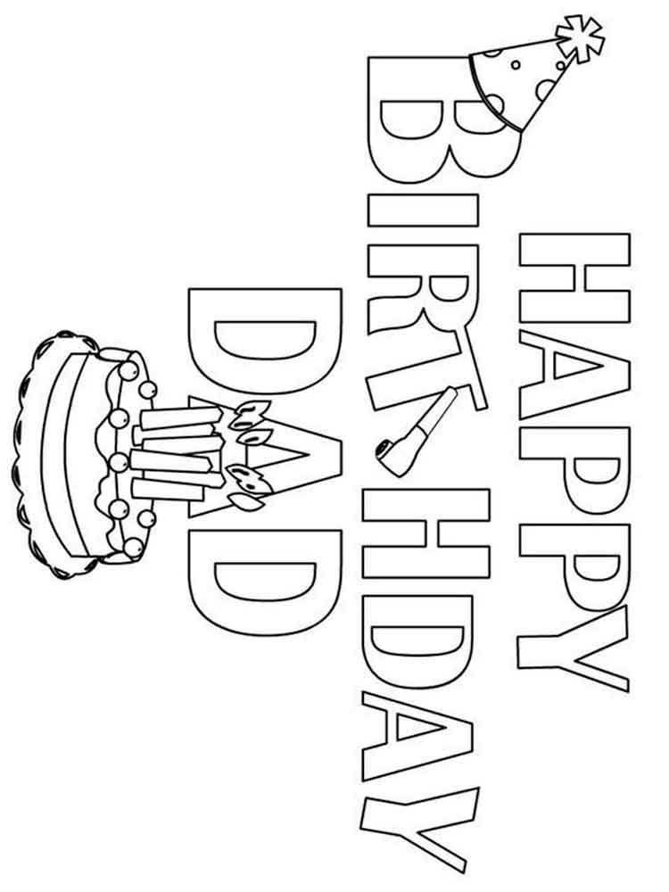 This is a graphic of Sweet Happy Birthday Dad Coloring Sheet