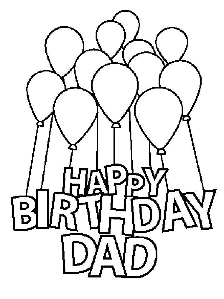 Happy Birthday Daddy Coloring Pages Free Printable Happy
