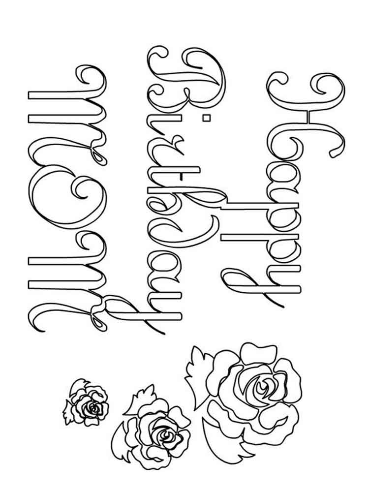 Happy Birthday Mom coloring pages Free Printable Happy