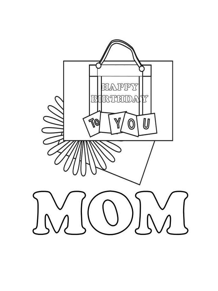 Happy birthday mom coloring pages free printable happy for Happy birthday mommy coloring pages