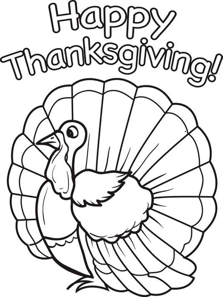 Happy thanksgiving coloring pages free printable happy for Turkey coloring pages to print