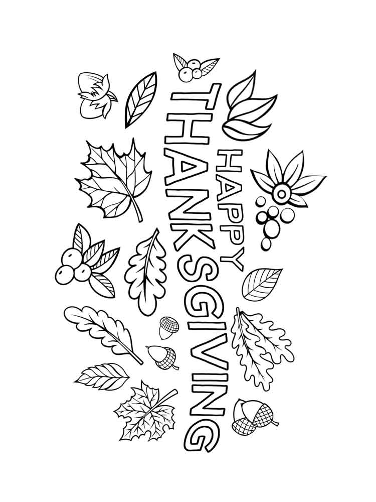 Happy Thanksgiving Coloring Pages Free Printable Happy