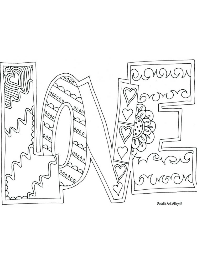 Love Coloring Pages. Download And Print Love Coloring Pages