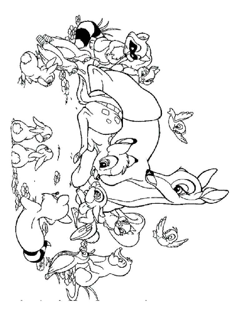 Bambi And Friends Coloring Pages Free Printable Bambi And