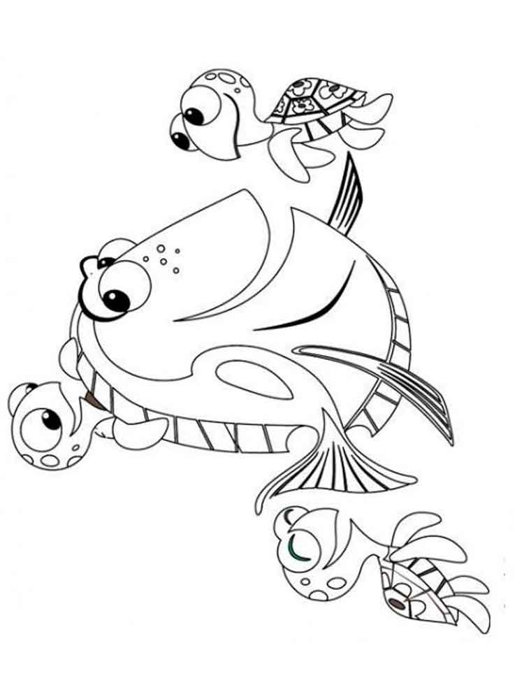 Finding dory coloring pages free printable finding dory for Finding dory coloring pages