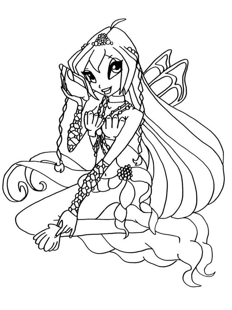 Winx mermaid coloring pages free printable winx mermaid for Mermaid coloring pages