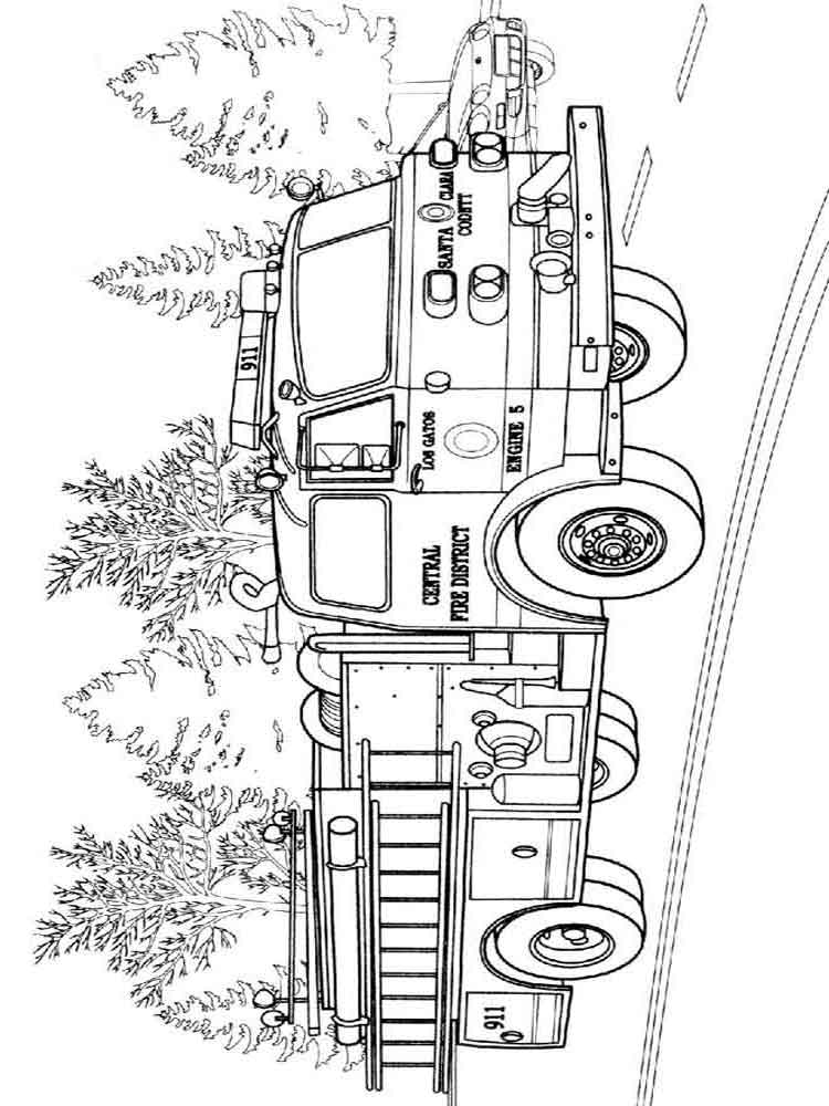 firetruck realistic coloring pages - photo#14