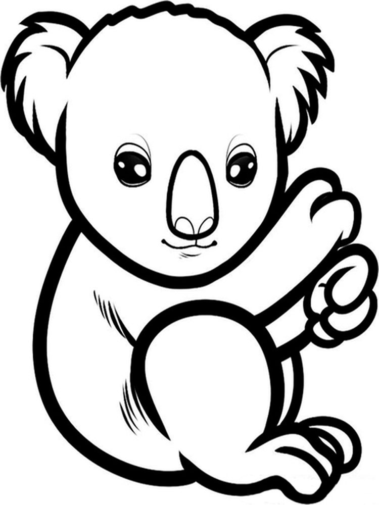 This is an image of Adorable Koala Bears Coloring Pages