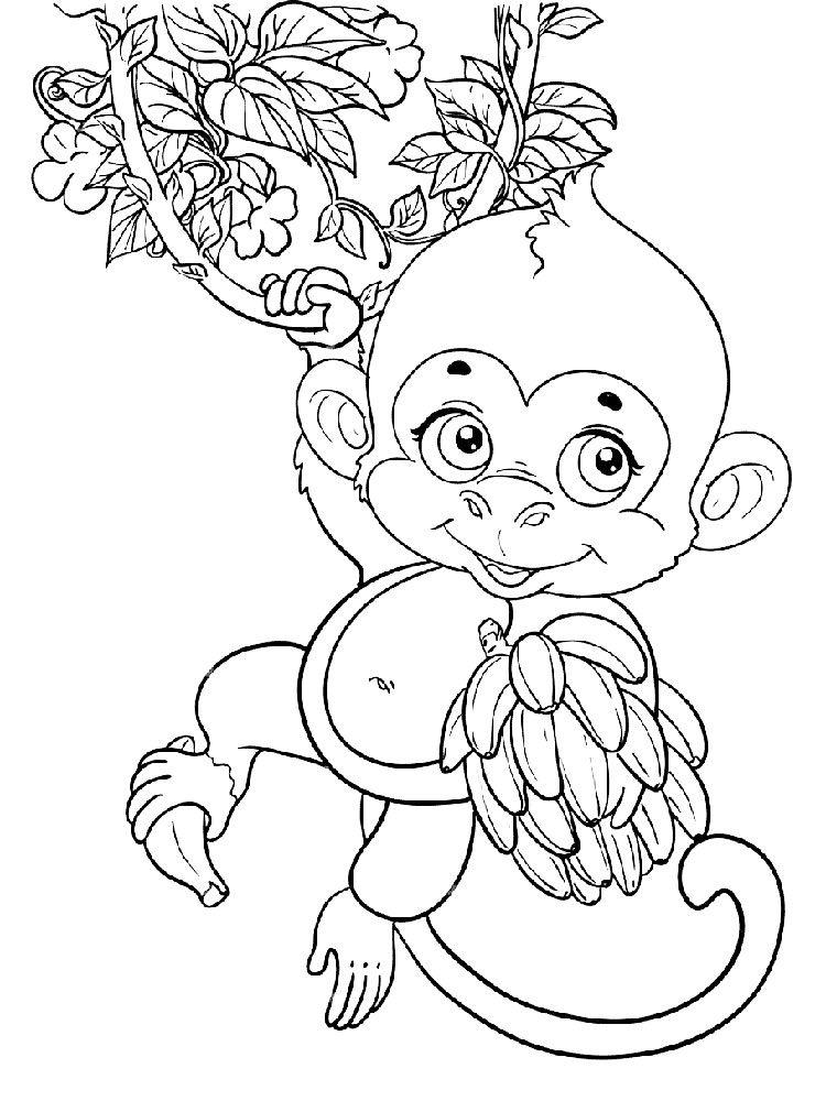 Monkey Coloring Pages Download And Print Monkey Coloring