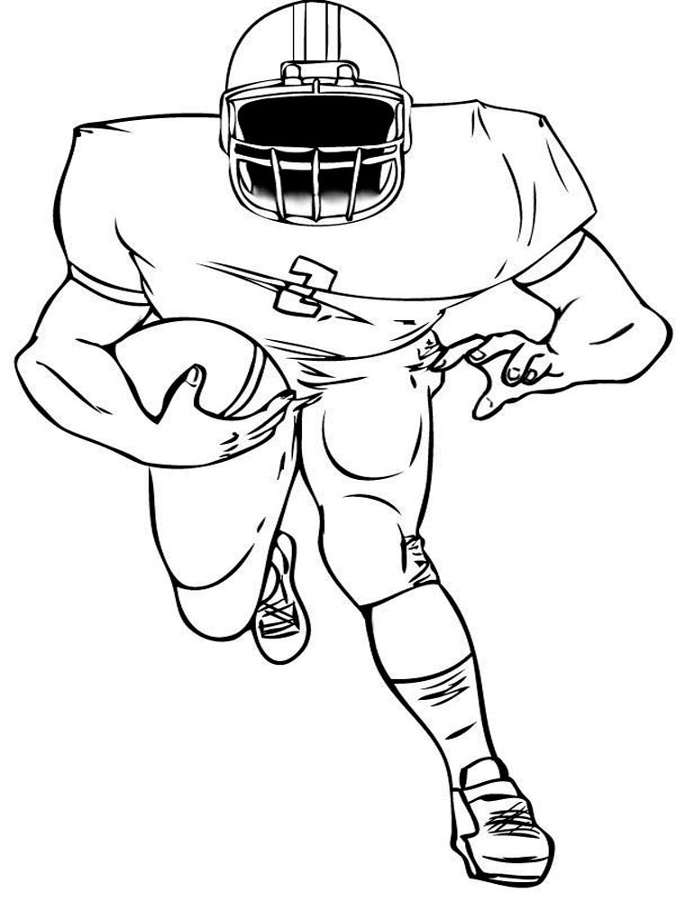 Football player coloring pages free printable football for Football color page