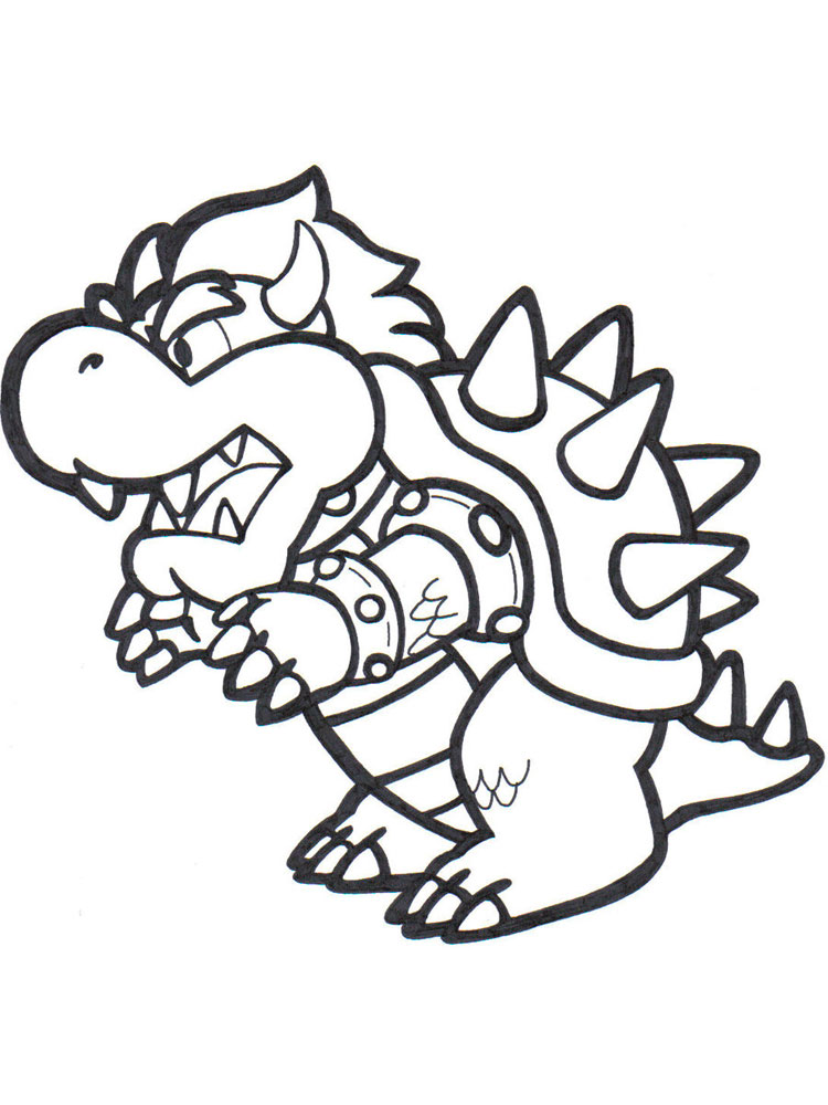Mario Bowser Coloring Pages Free Printable Mario Bowser Coloring