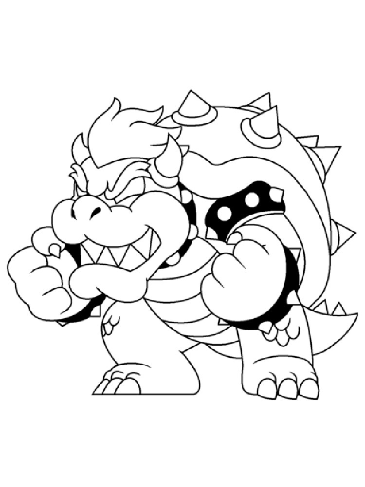 Mario bowser coloring pages free printable mario bowser for Mario coloring pages online