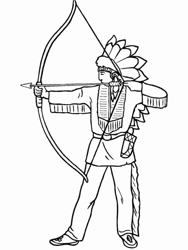 Native American Boy Coloring Pages. Free Printable Native