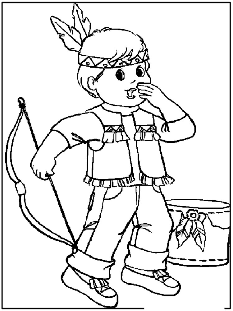 Native american boy coloring pages free printable native for Boys color pages