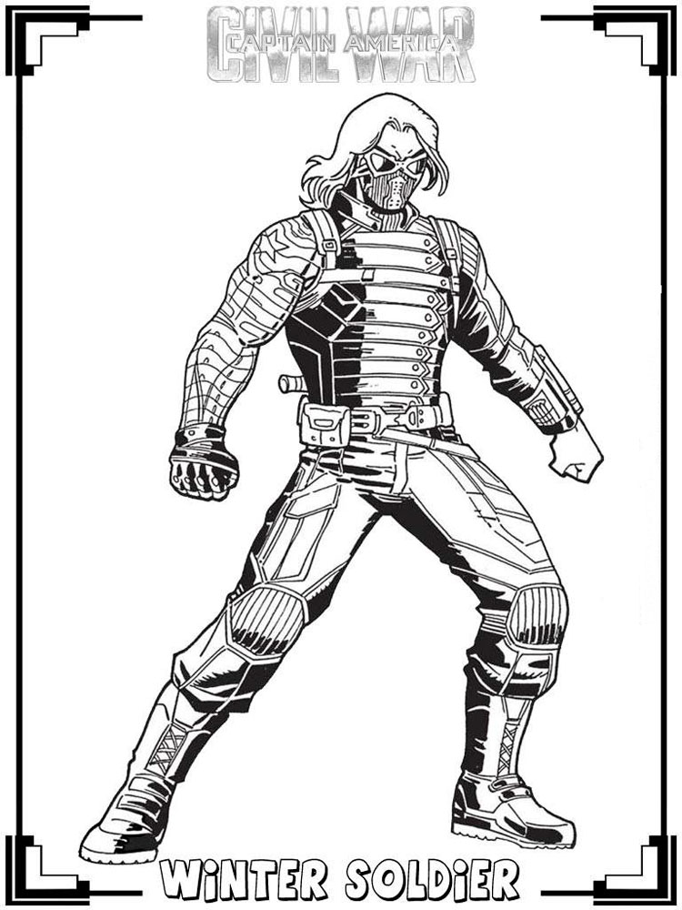 The winter soldier coloring pages free printable the for Captain america the winter soldier coloring pages
