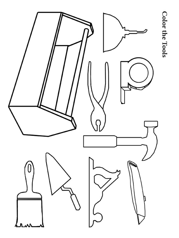 Tool coloring pages free printable tool coloring pages for Tools coloring page