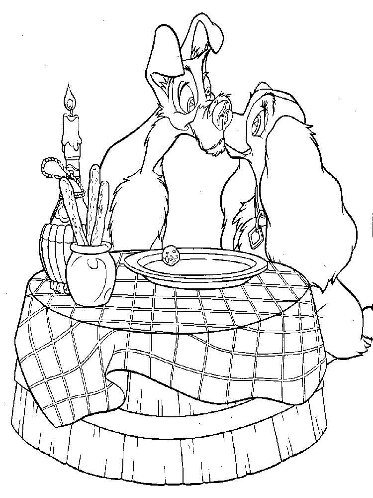 lady and the tramp coloring pages 2 - Lady Tramp Coloring Pages