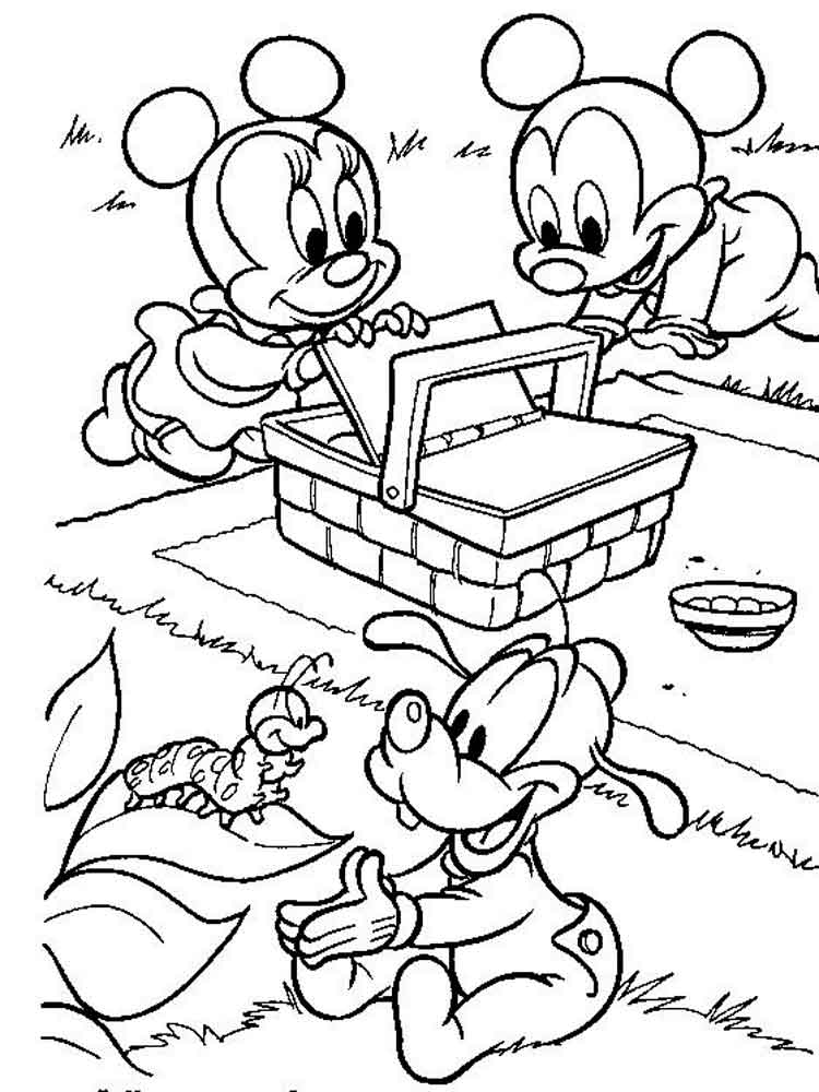 Minnie And Mickey Mouse At The Beach Coloring Pages