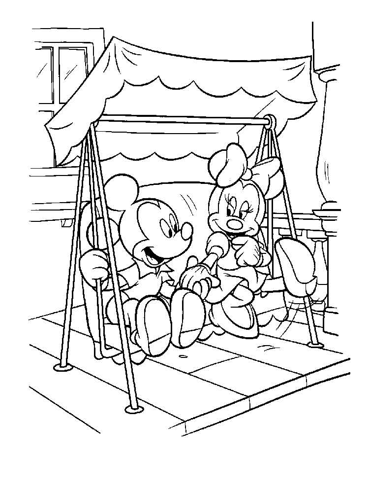 Free Printable Mickey and Minnie Mouse coloring pages.